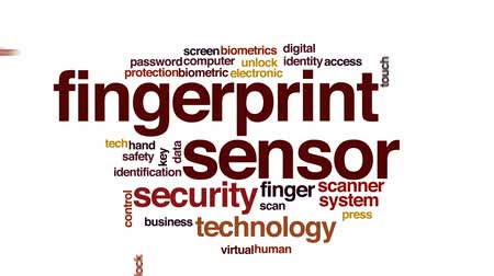 unlocking : Fingerprint sensor animated word cloud, text design animation. Stock Footage