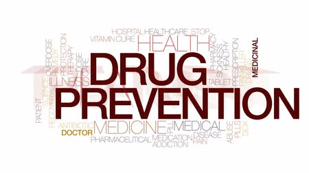 addiction recovery : Drug prevention animated word cloud, text design animation. Kinetic typography.