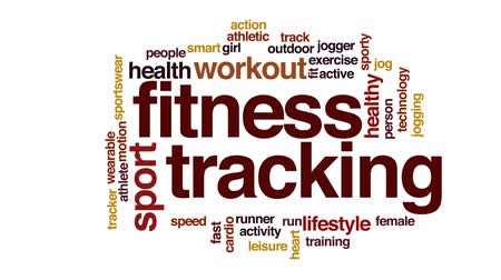fitness tracker : Fitness tracking animated word cloud, text design animation. Stock Footage