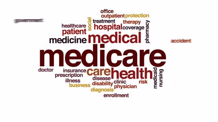healthy office : Medicare animated word cloud, text design animation.