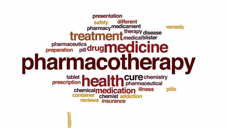 bez szwu : Pharmacotherapy animated word cloud, text design animation. Wideo