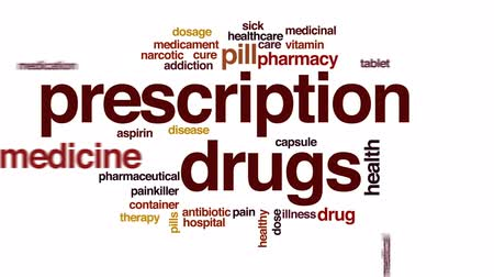 analgésico : Prescription drugs animated word cloud, text design animation.