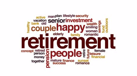 aposentar : Retirement animated word cloud, text design animation. Stock Footage
