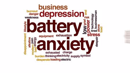 preocupar se : Battery anxiety animated word cloud, text design animation.