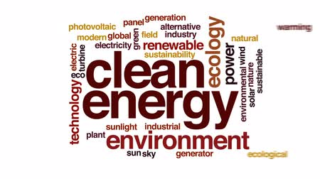 fotovoltaik : Clean energy animated word cloud, text design animation. Stok Video