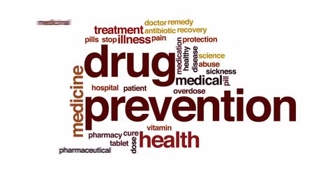 lekarstwo : Drug prevention animated word cloud, text design animation.