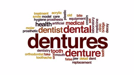 dent : Dentures animated word cloud, text design animation.