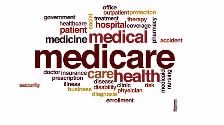 ellátó : Medicare animated word cloud, text design animation.