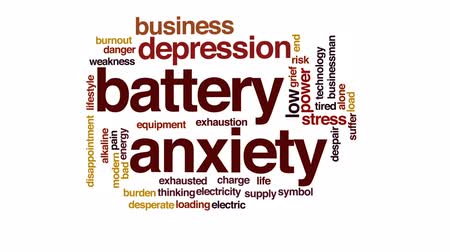 bez szwu : Battery anxiety animated word cloud, text design animation.