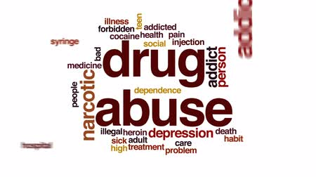 junkie : Drug abuse animated word cloud, text design animation.