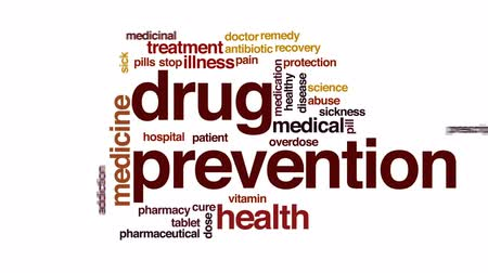 addiction recovery : Drug prevention animated word cloud, text design animation.
