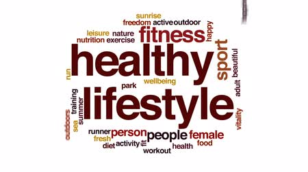 sports nutrition : Healthy lifestyle animated word cloud, text design animation.