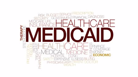 醫療保健 : Medicaid animated word cloud, text design animation. Kinetic typography.