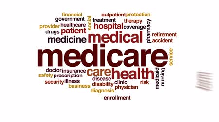 enrollment : Medicare animated word cloud, text design animation.