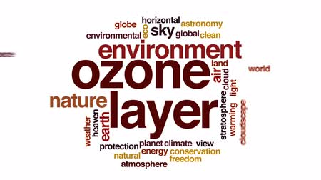 sztratoszféra : Ozone layer animated word cloud, text design animation.