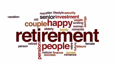 lifestyle : Retirement animated word cloud, text design animation. Wideo
