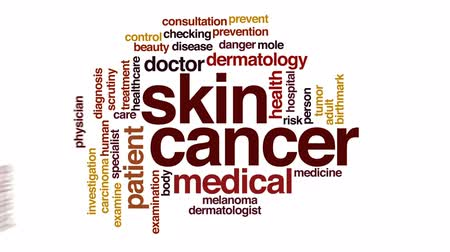 investigar : Skin cancer therapy animated word cloud, text design animation.