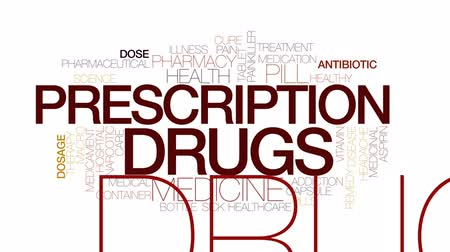 Prescription drugs animated word cloud, text design animation. Kinetic typography. Dostupné videozáznamy