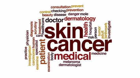 mole : Skin cancer therapy animated word cloud, text design animation.