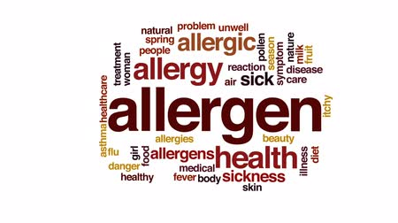 reakció : Allergen animated word cloud, text design animation.