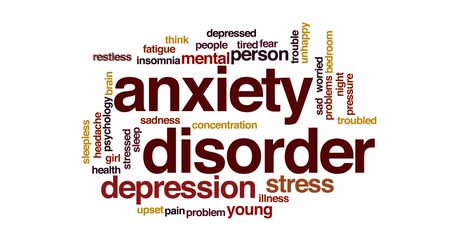 zihinsel : Anxiety disorder animated word cloud, text design animation.