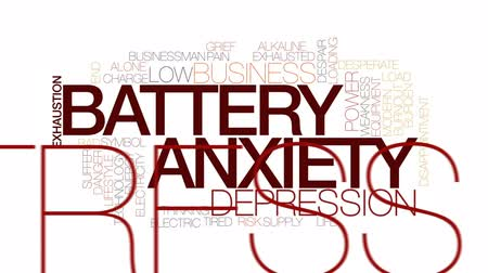 preocupar se : Battery anxiety animated word cloud, text design animation. Kinetic typography. Vídeos