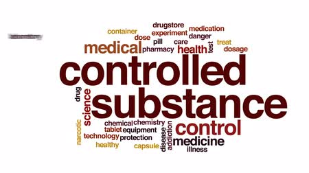 produtos químicos : Controlled substance animated word cloud, text design animation.