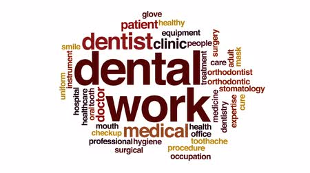 szakértő : Dental work property animated word cloud, text design animation.