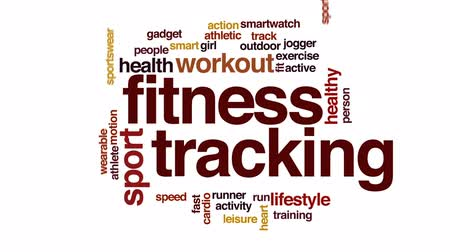 бегун трусцой : Fitness tracking animated word cloud, text design animation. Стоковые видеозаписи