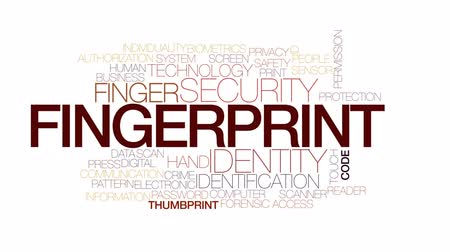 leitor : Fingerprint animated word cloud, text design animation. Kinetic typography.