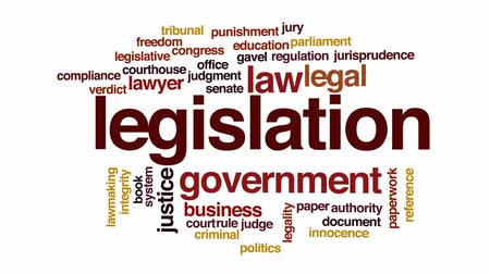 tribunal : Legislation animated word cloud, text design animation.