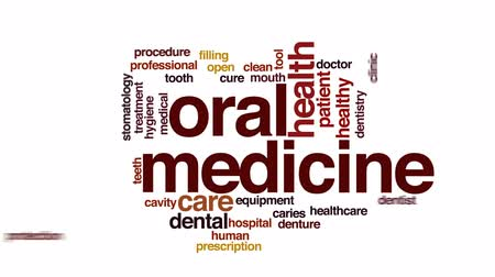stomatologia : Oral medicine animated word cloud, text design animation.