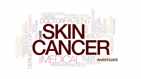 investigar : Skin cancer therapy animated word cloud, text design animation. Kinetic typography.