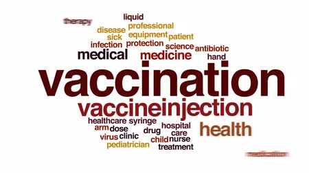 доза : Vaccination animated word cloud, text design animation. Стоковые видеозаписи