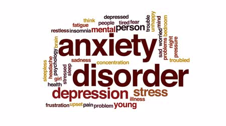 preocupar se : Anxiety disorder animated word cloud, text design animation.
