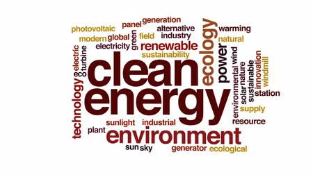 солнечный : Clean energy animated word cloud, text design animation. Стоковые видеозаписи