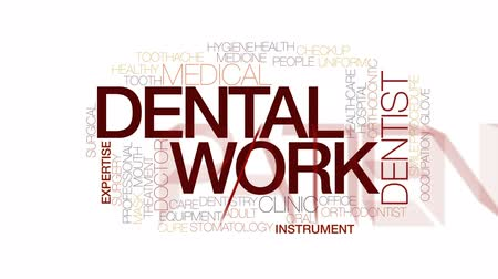 healthy office : Dental work property animated word cloud, text design animation. Kinetic typography.
