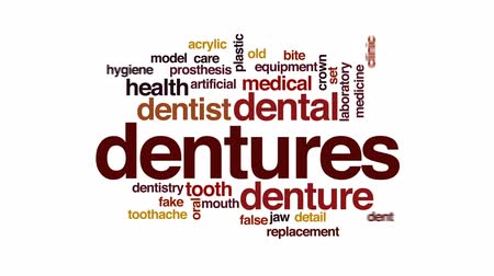 sahte : Dentures animated word cloud, text design animation.