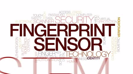 leitor : Fingerprint sensor animated word cloud, text design animation. Kinetic typography. Vídeos