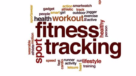 sportowiec : Fitness tracking animated word cloud, text design animation. Wideo