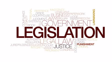 megfelel : Legislation animated word cloud, text design animation. Kinetic typography. Stock mozgókép