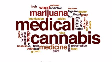 intoxication : Medical cannabis animated word cloud, text design animation.