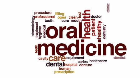lekarstwo : Oral medicine animated word cloud, text design animation.