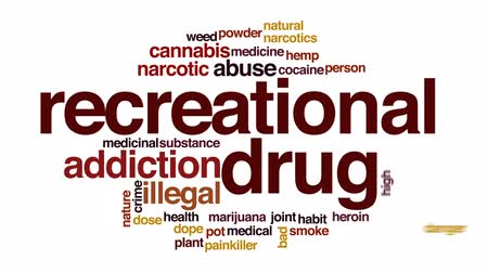 kokaina : Recrational drug animated word cloud, text design animation. Wideo