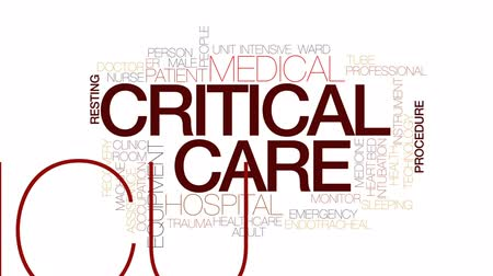 ér : Critical care animated word cloud, text design animation. Kinetic typography. Stock mozgókép