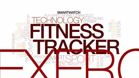 pedometer : Fitness tracker animated word cloud, text design animation. Kinetic typography.