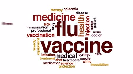 dose de : Flu vaccine animated word cloud, text design animation.
