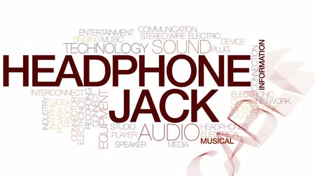 mikrofon : Headphone jack animated word cloud, text design animation. Kinetic typography.