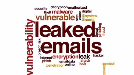vulnerability : Leaked emails animated word cloud, text design animation.