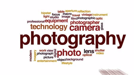 makro fotografie : Photography animated word cloud, text design animation.